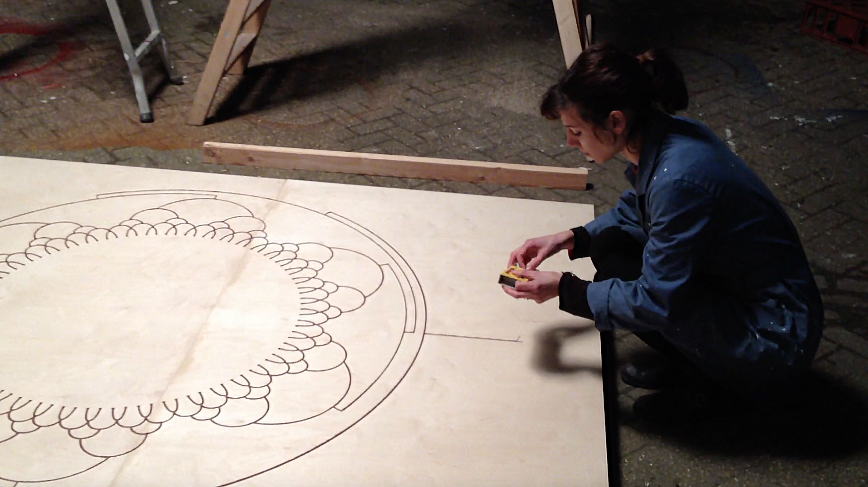 Sarah preparing to light a Fire Drawing