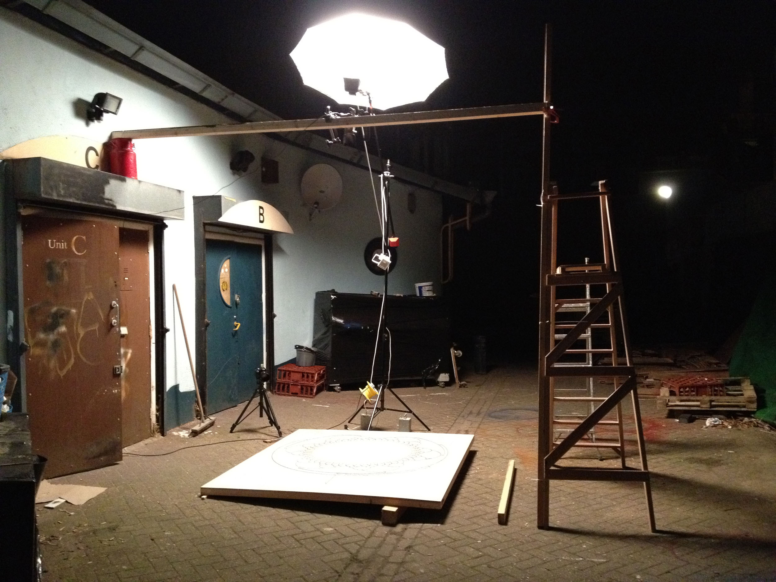 A behind the scenes photo from the Fire Drawings Film showing camera and lights setup