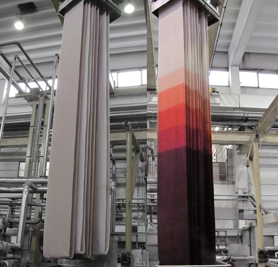 A roll of fabric suspended by crane over a tank of dye