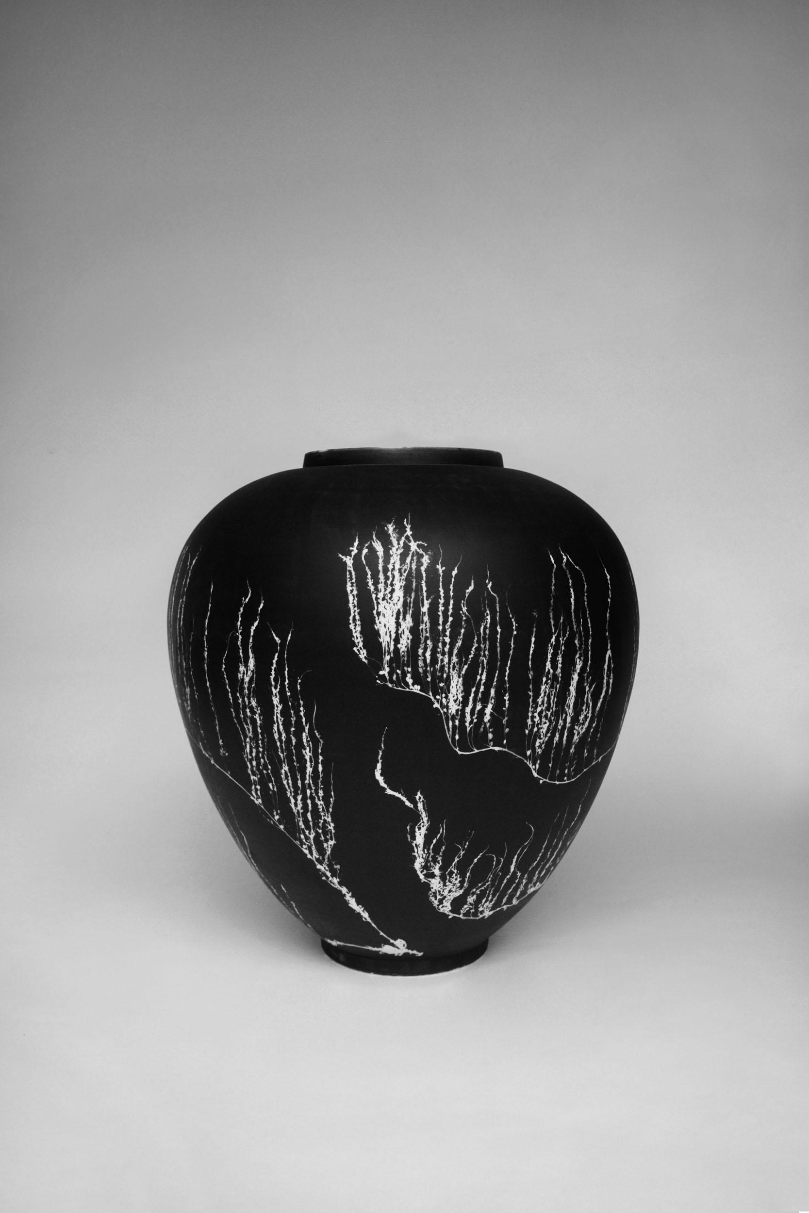 A Silverware vase with foraged seaweed silver gelatin photogram