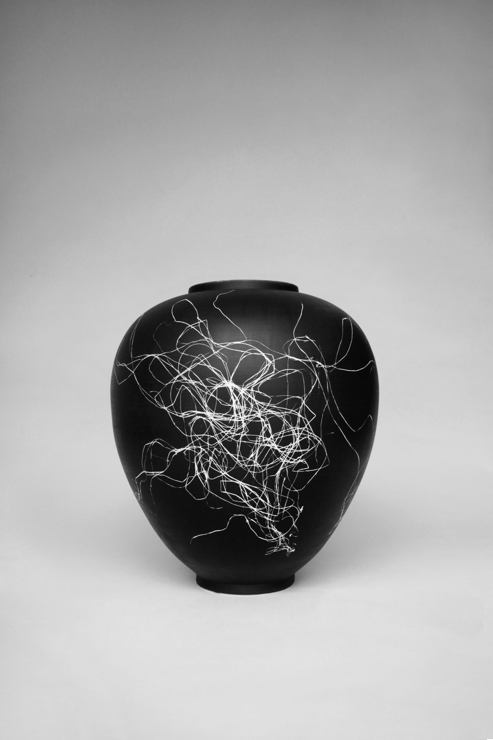 A Silverware vase with Wire Weed seaweed silver gelatin photogram