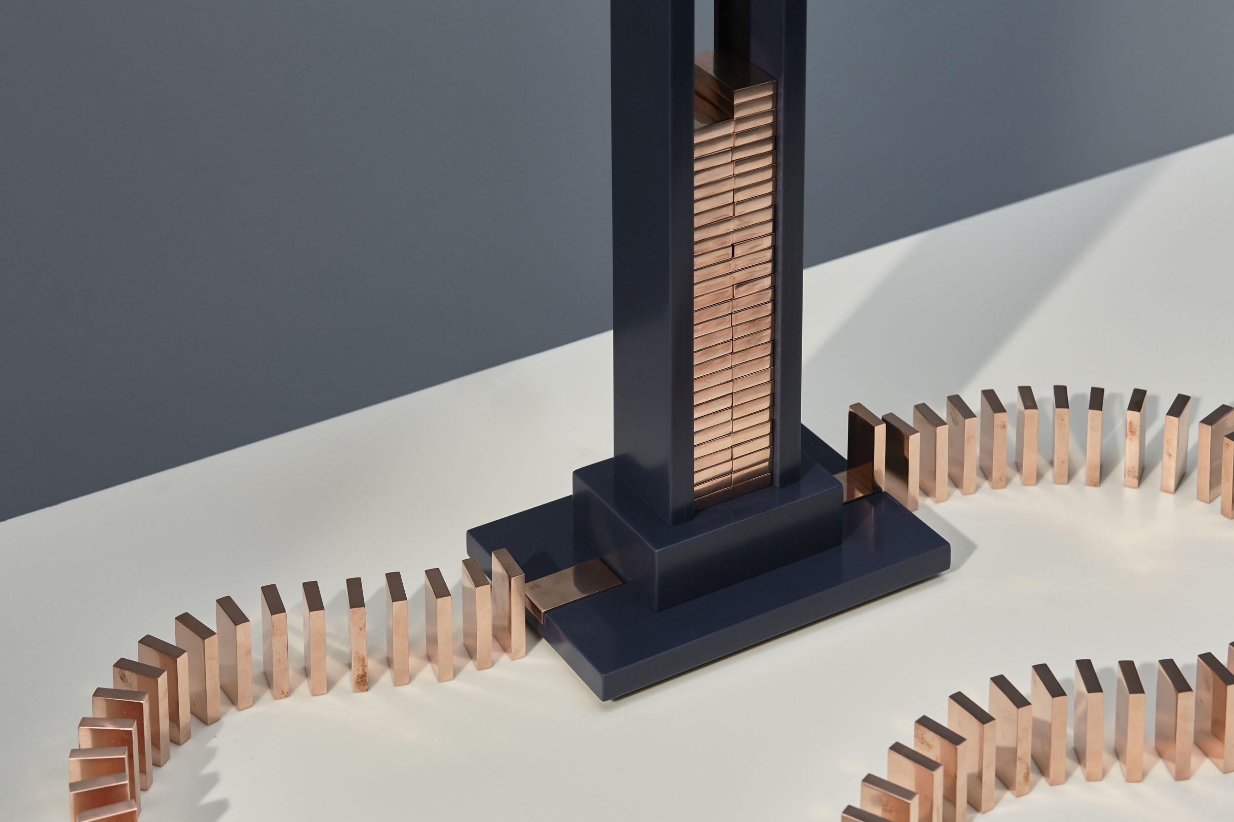 Detail of Domino Light with copper dominos