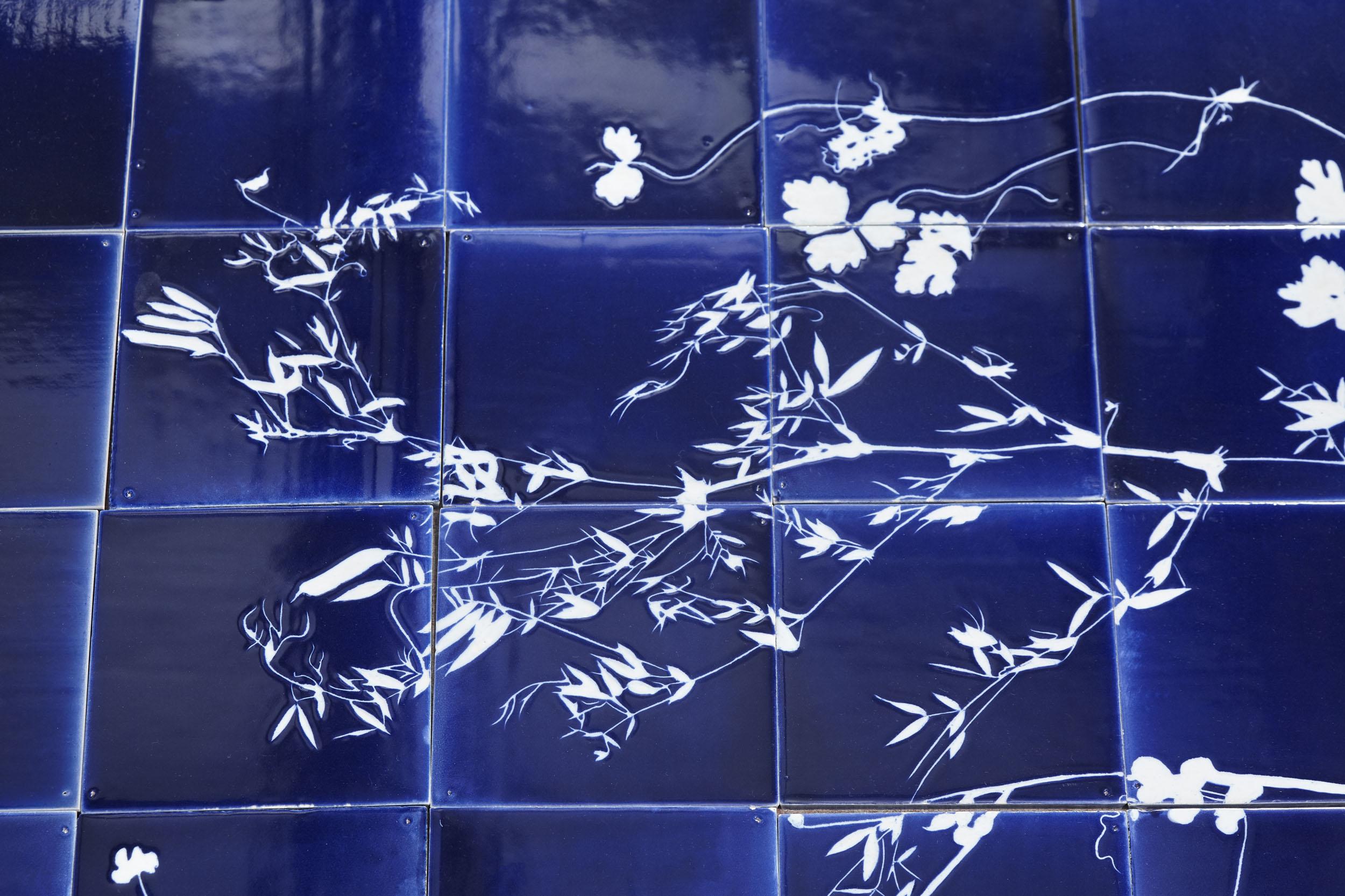 Blue Botanical Tiles with design of foraged weeds