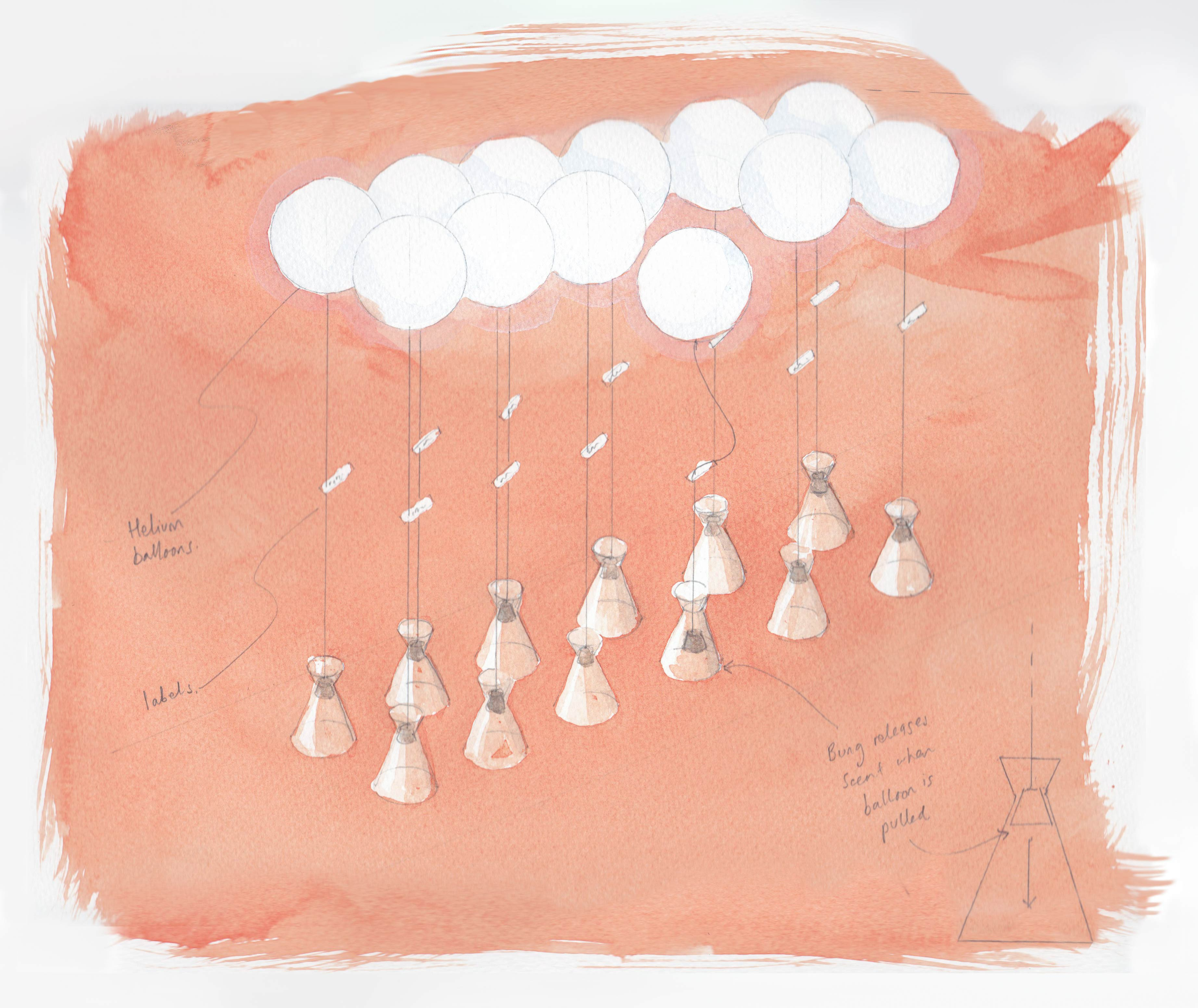 A water colour sketch of a design for a perfume bottle closure using balloons