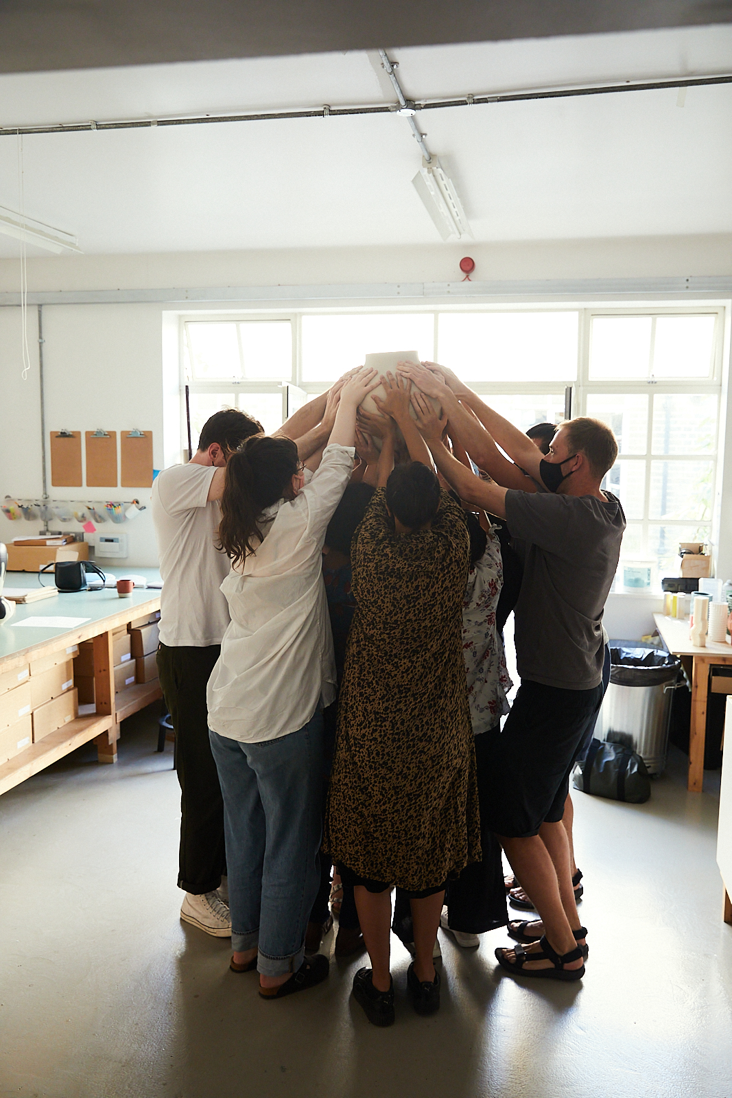 Rehearsing making a Hold Me vase in the studio