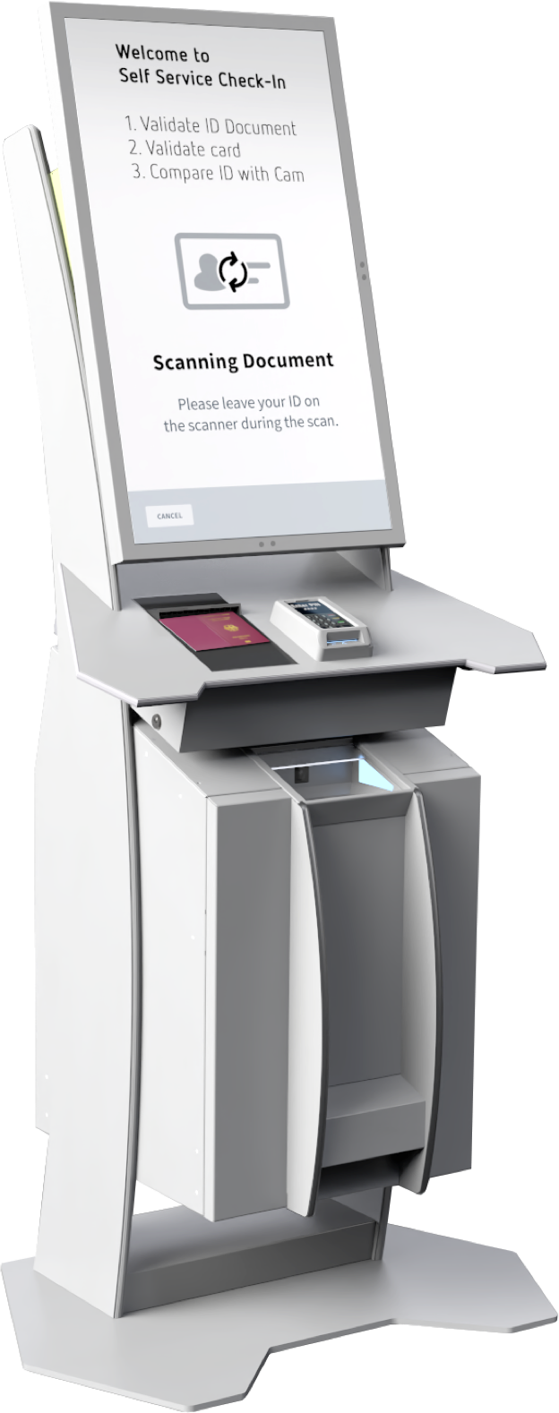 An Infrafon Dispenser with polytouch display and keypad, card reader, passport scanner and much more, dispensing fully charged and personalized CC1 devices