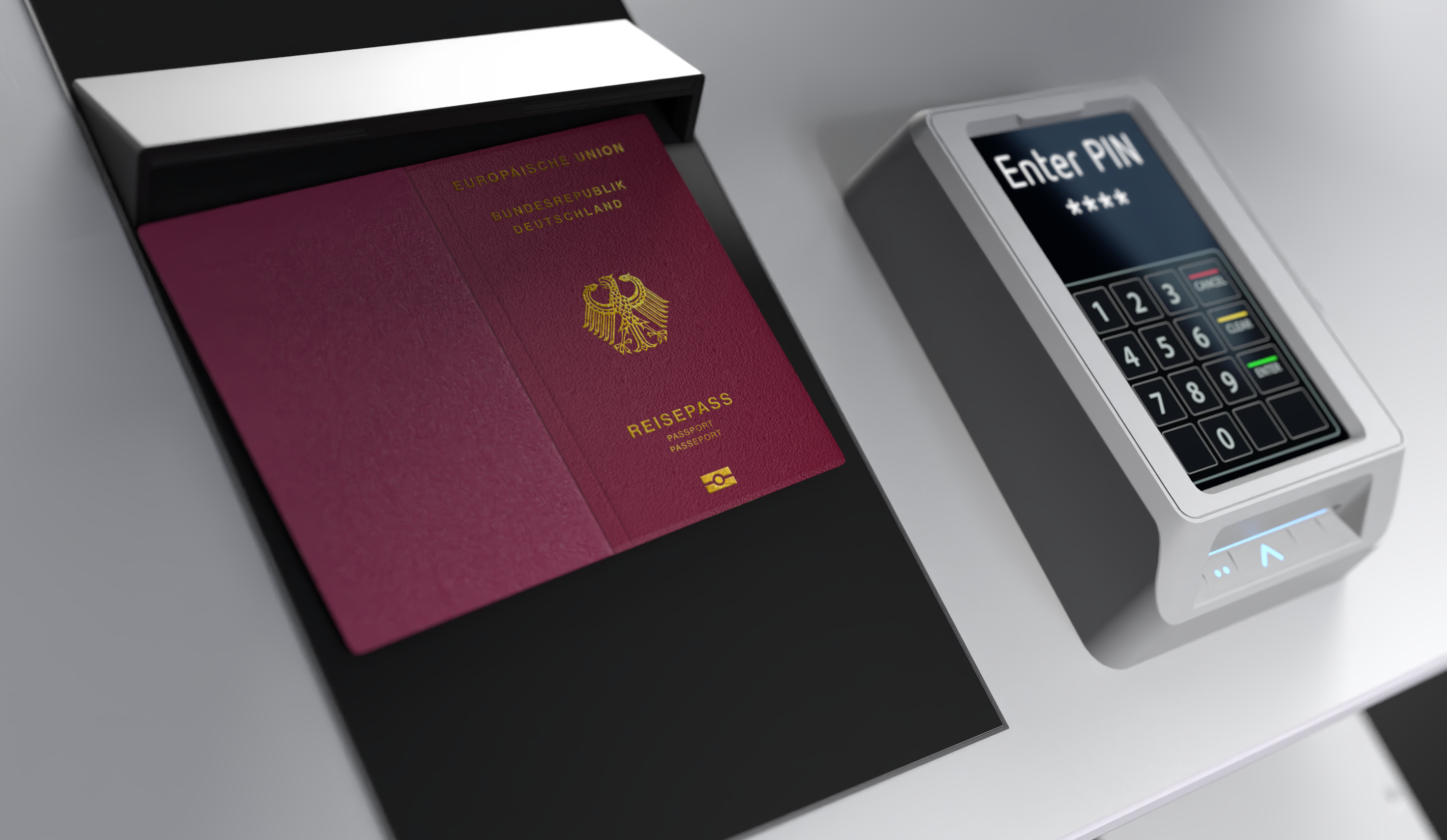 A close up of the Infrafon Dispenser passport scanner and keypad with payment option