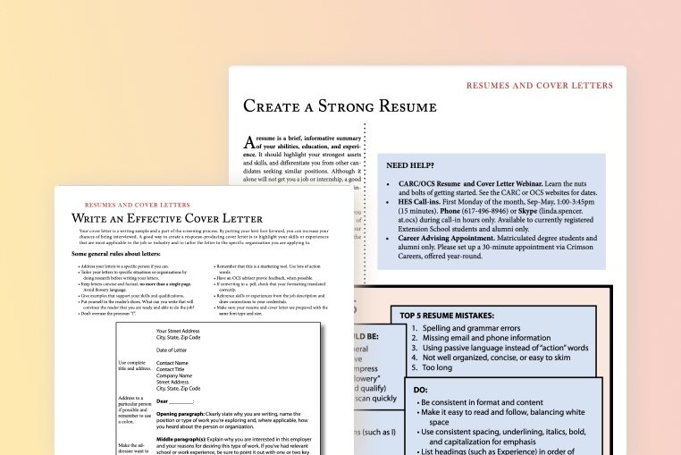 An extension resource walking students through resume formatting, keywords, ATS, the perfect cover letter, and more with templates included.