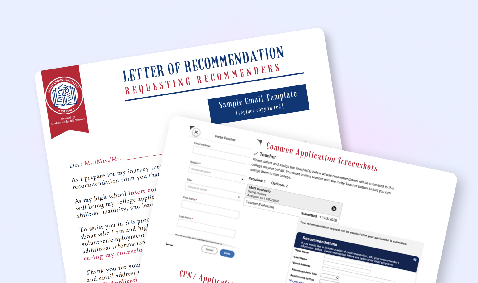 Colleges often ask applicants for letters of recommendation as part of the application; they provide admission staff with an outside perspective of your accomplishments and growth.