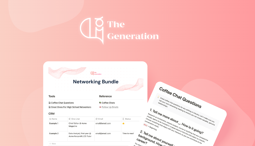 All-in-one Notion template and guide to keep track of your growing network. Start guides, coffee chat questions, outreach email templates and more.