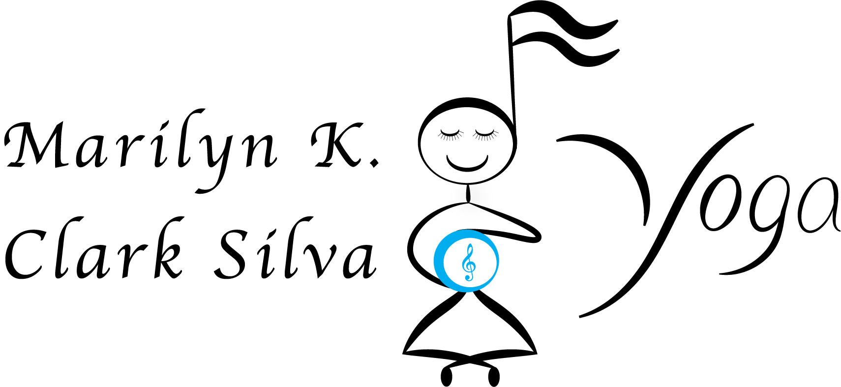 Marilyn K. Clark Silva Logo. Name on Left Yogi with music note for head in center. Yoga on right.