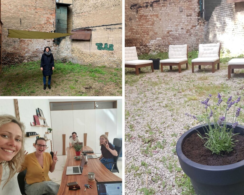 Pic collage – urban backyard, people in an office.