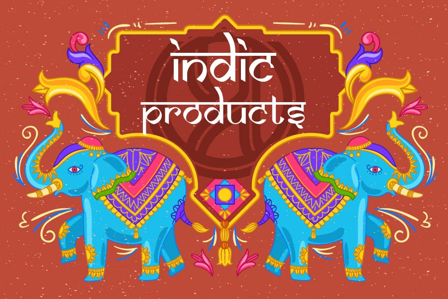 Poster for Indic Products, with traitional ethnic design vibes.