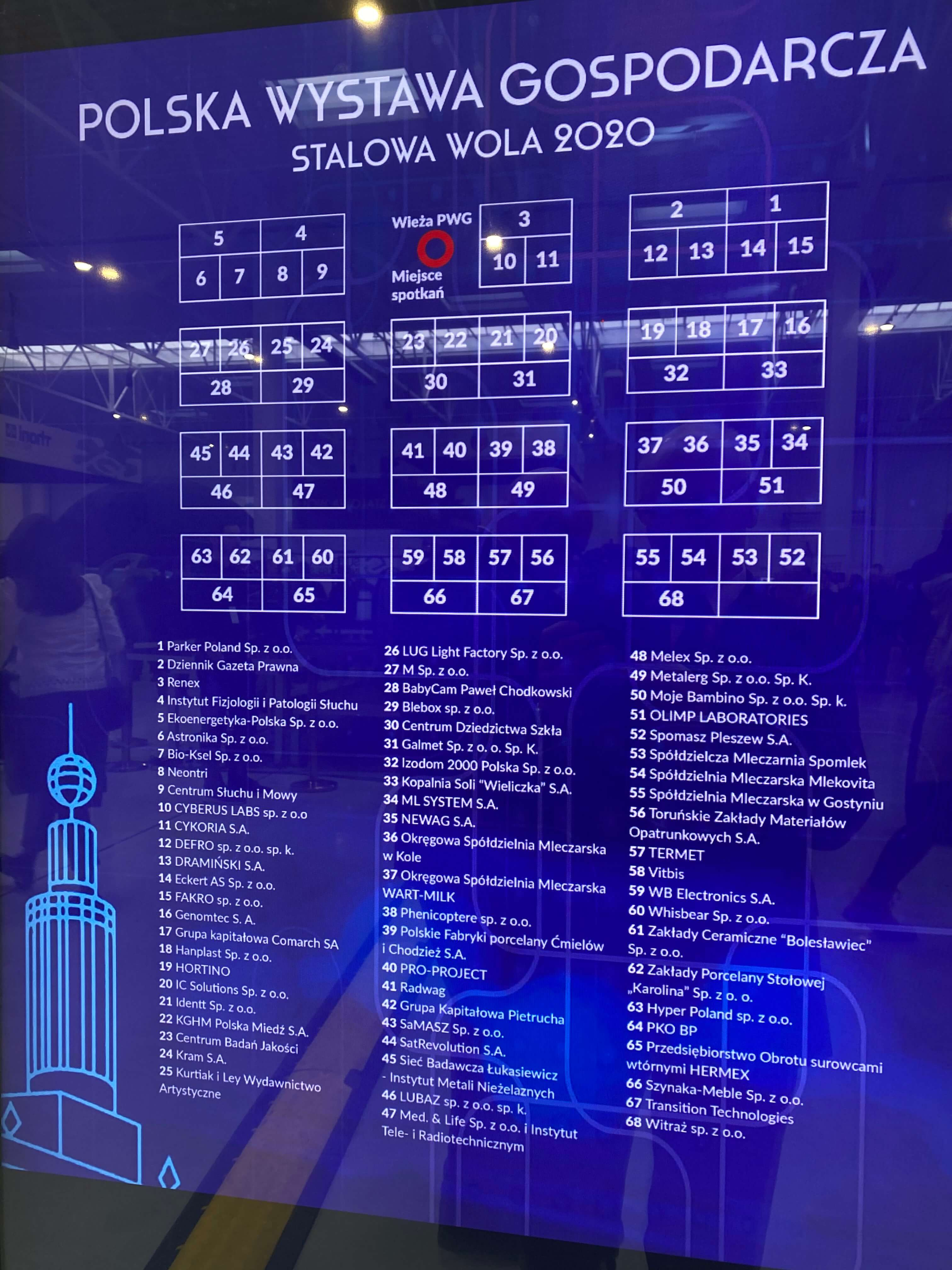Picture of a blue, glass board on the Poliish Economic Exhibition That shows map and the list of 68 exhibitors.