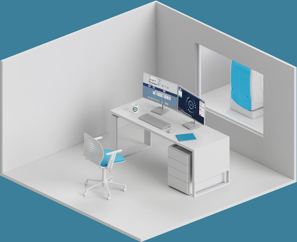 An isometric wiev of a computed tomography control room. There ia a desk in the middle with two displays and a keyboard on top, a chair near the desk and a window with a view at the CT room in front.