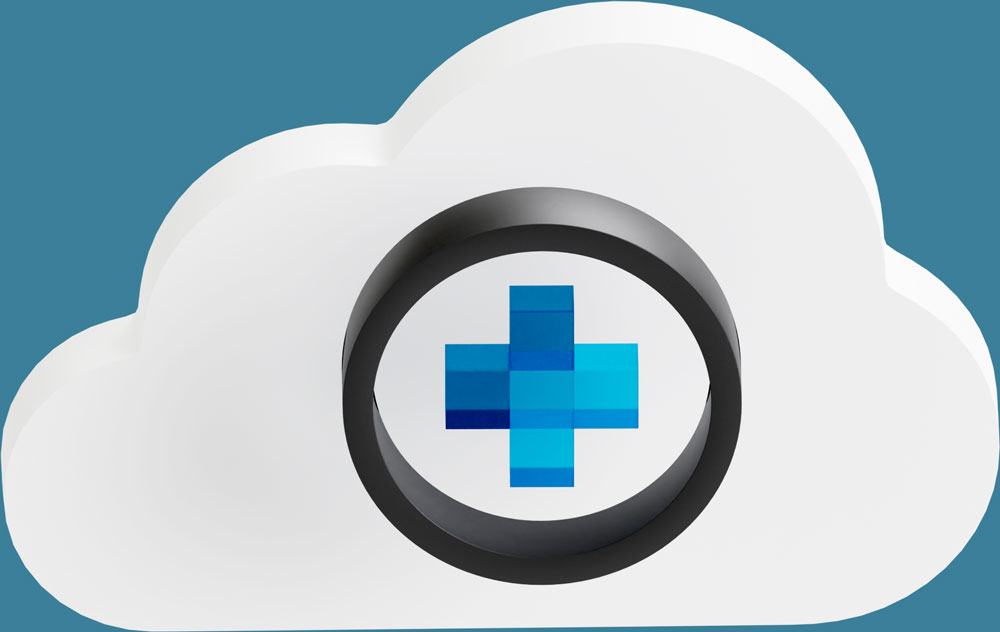 Cartoonish simple cloud made in 3D with Diagnomatic icon in front. Diagnomatic icon is a blue plus symbol inside a black circle.
