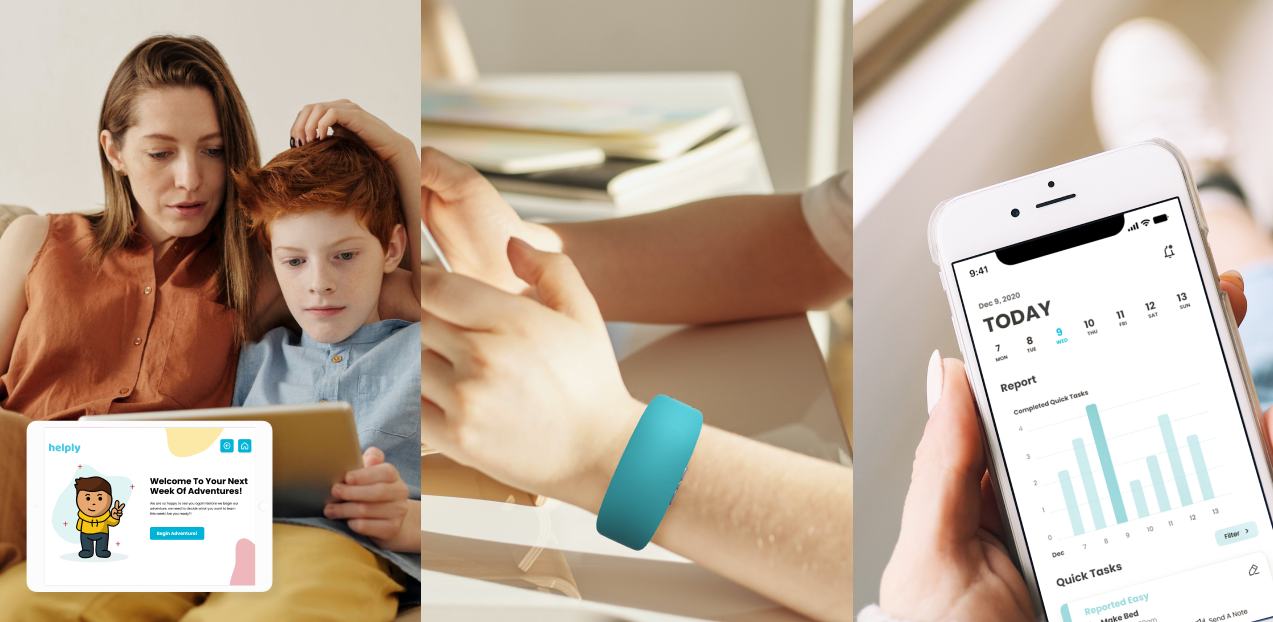 Hero image: first image depicts a mother and her child looking at an iPad, screen of Helply interface is overlaid on top; second image depicts child wearing Helply wristband; third image shows a hand holding an iPhone, iPhone shows the Helply parent interface.