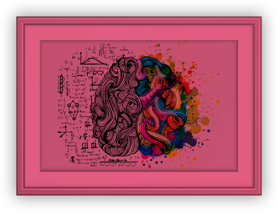 A graphic of a picture frame with a brain inside