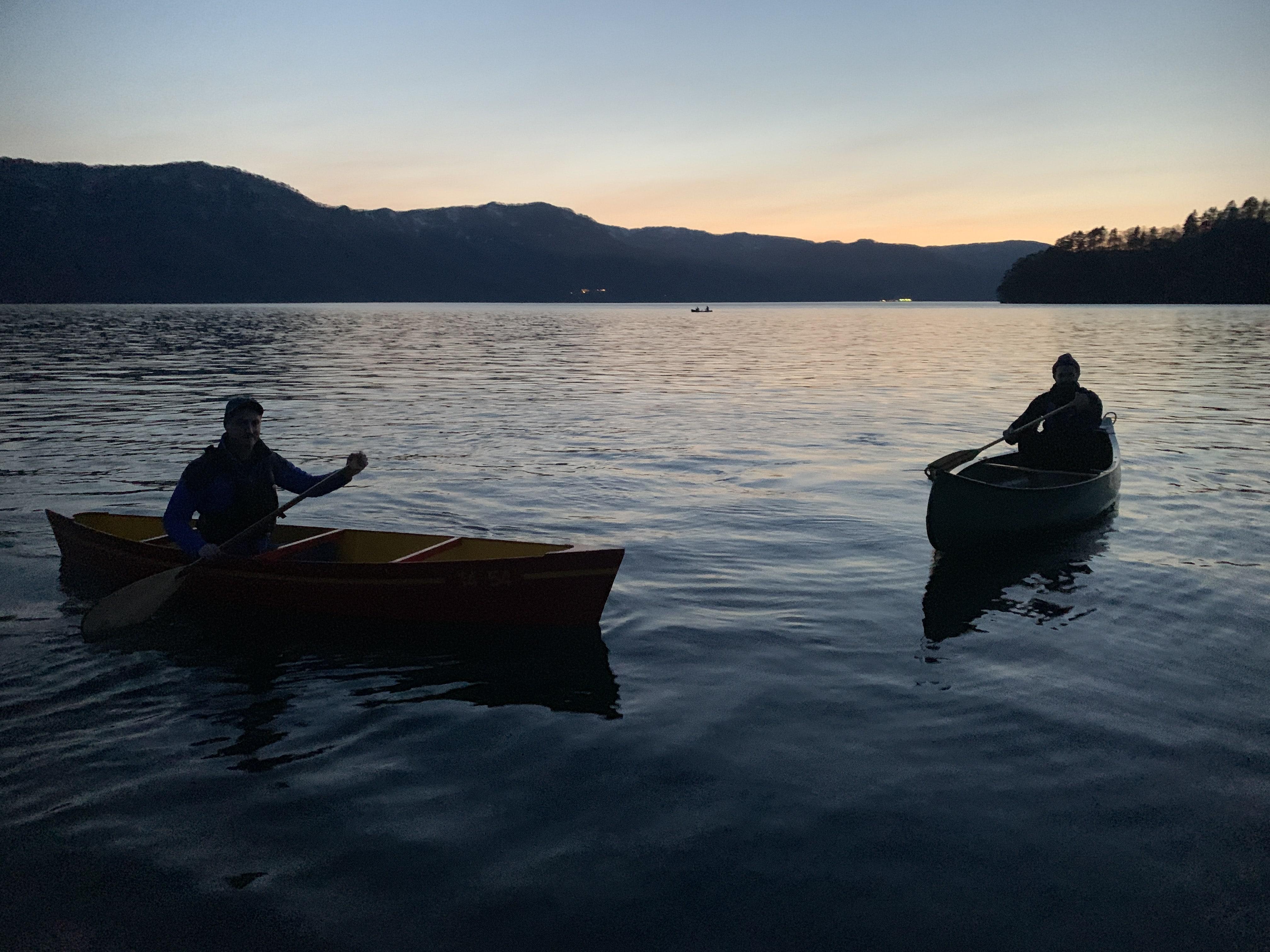 Canoes on Lake Towada