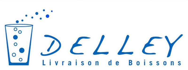 Le logo de. Delley Boissons Sàrl contenant une illustration qui représente un verre de liquide pétillant