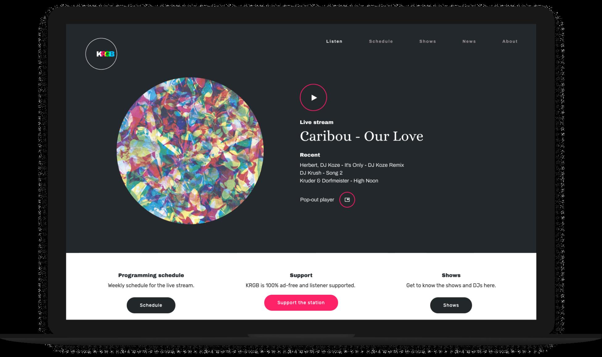 KRGB v1 homepage Macbook preview