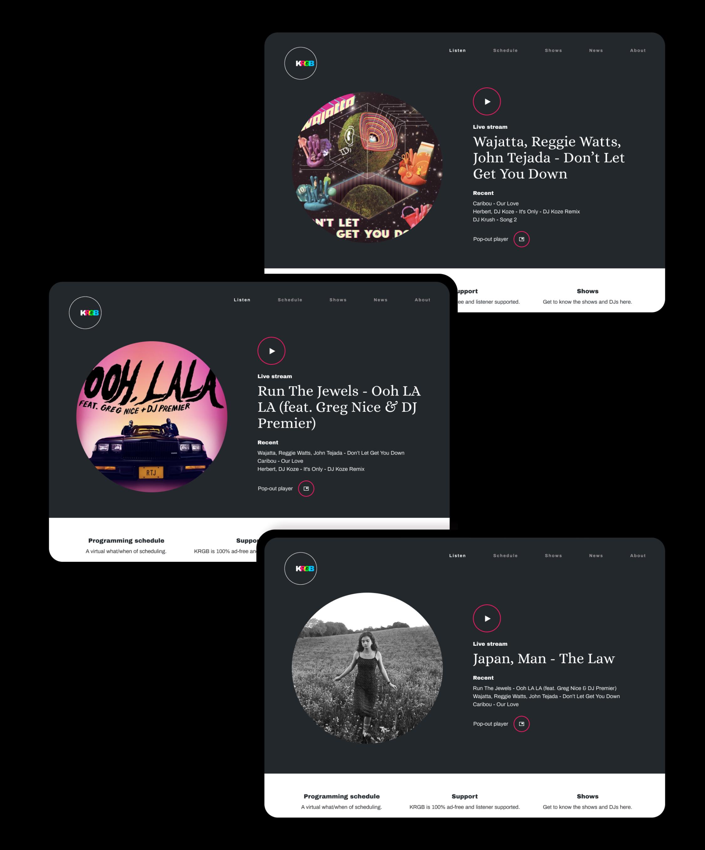 KRGB v1 homepage multiple examples