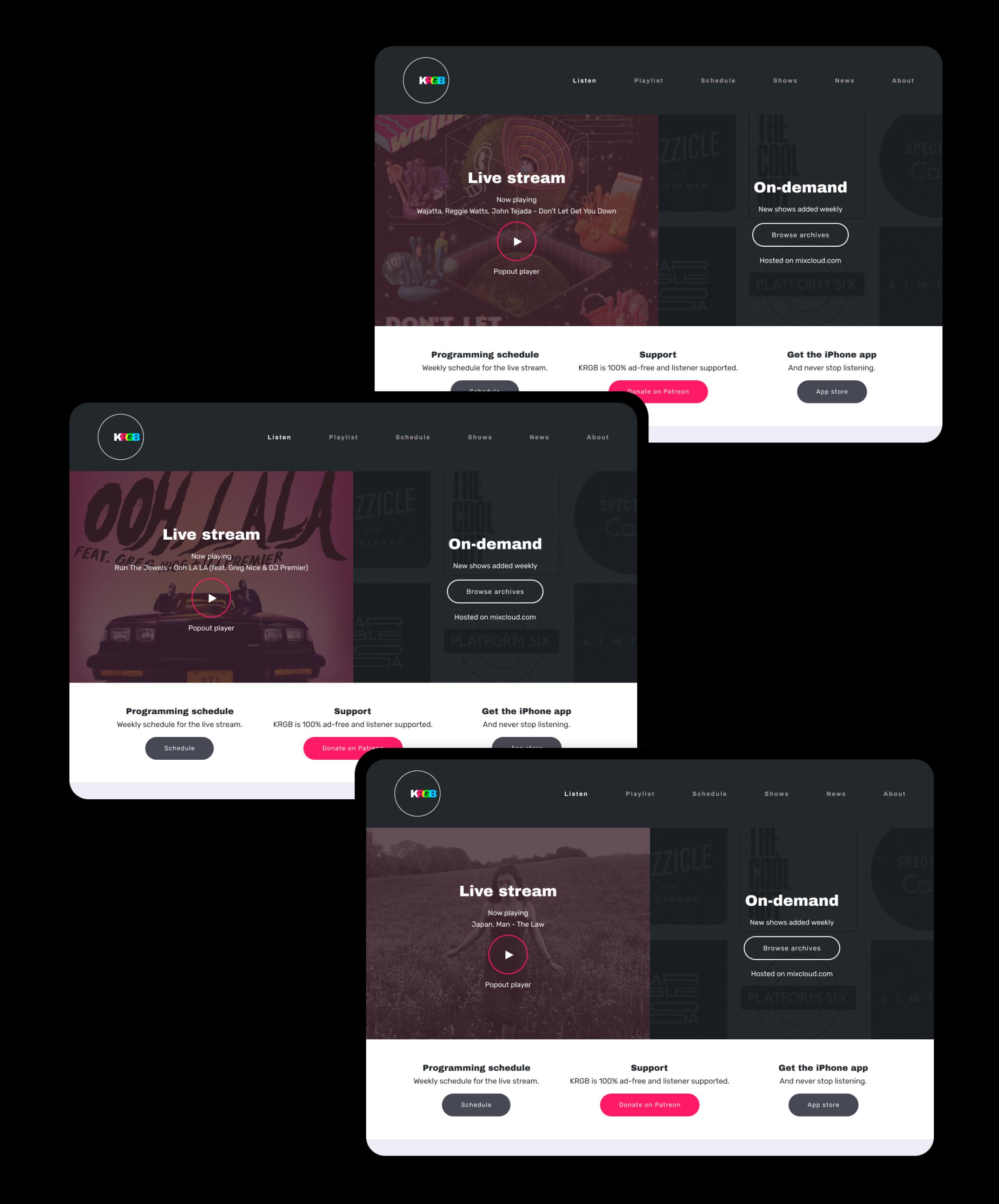 KRGB v2 homepage multiple examples
