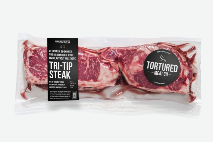 Faux meat packaging for Tortured Meat Co.