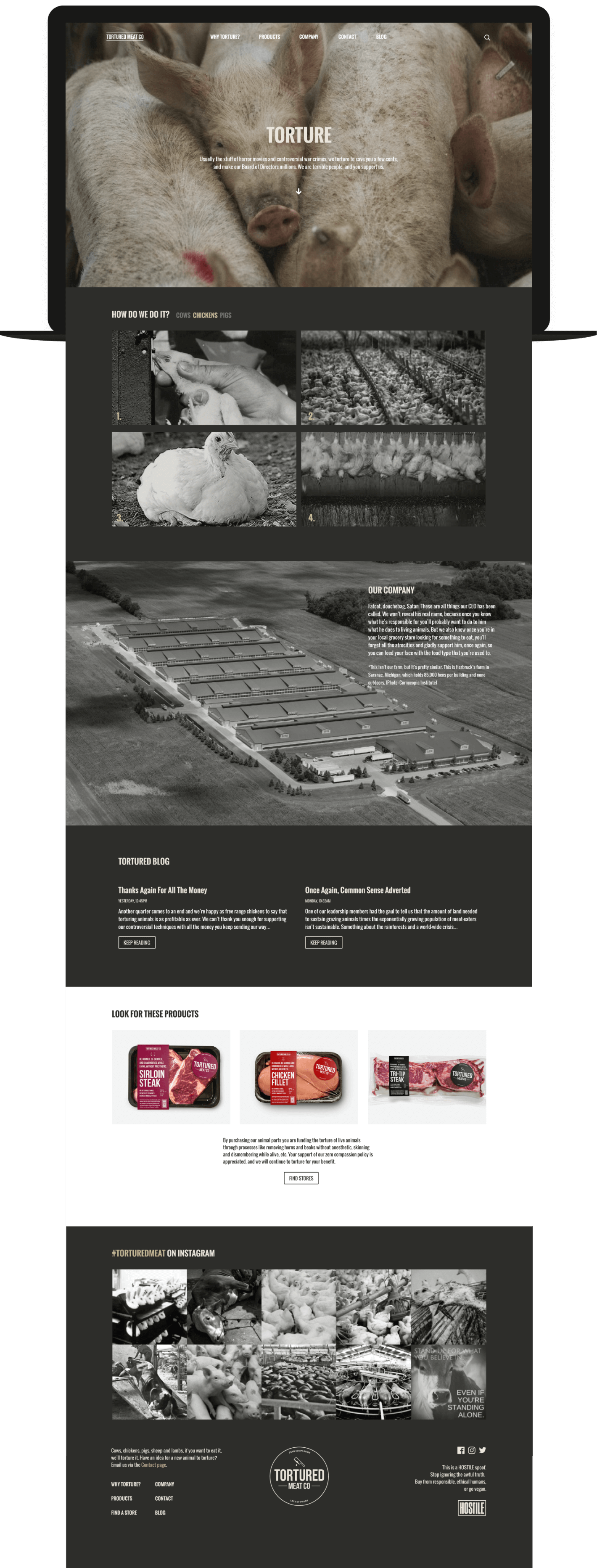Faux website for Tortured Meat Co.