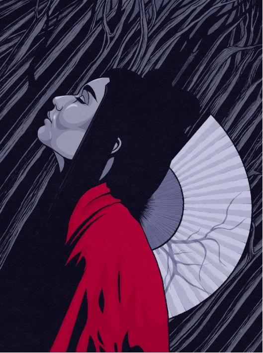 Illustration of geisha in the woods