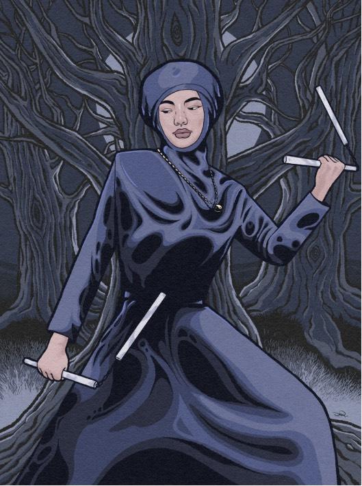Illustration of ninja nun in the woods
