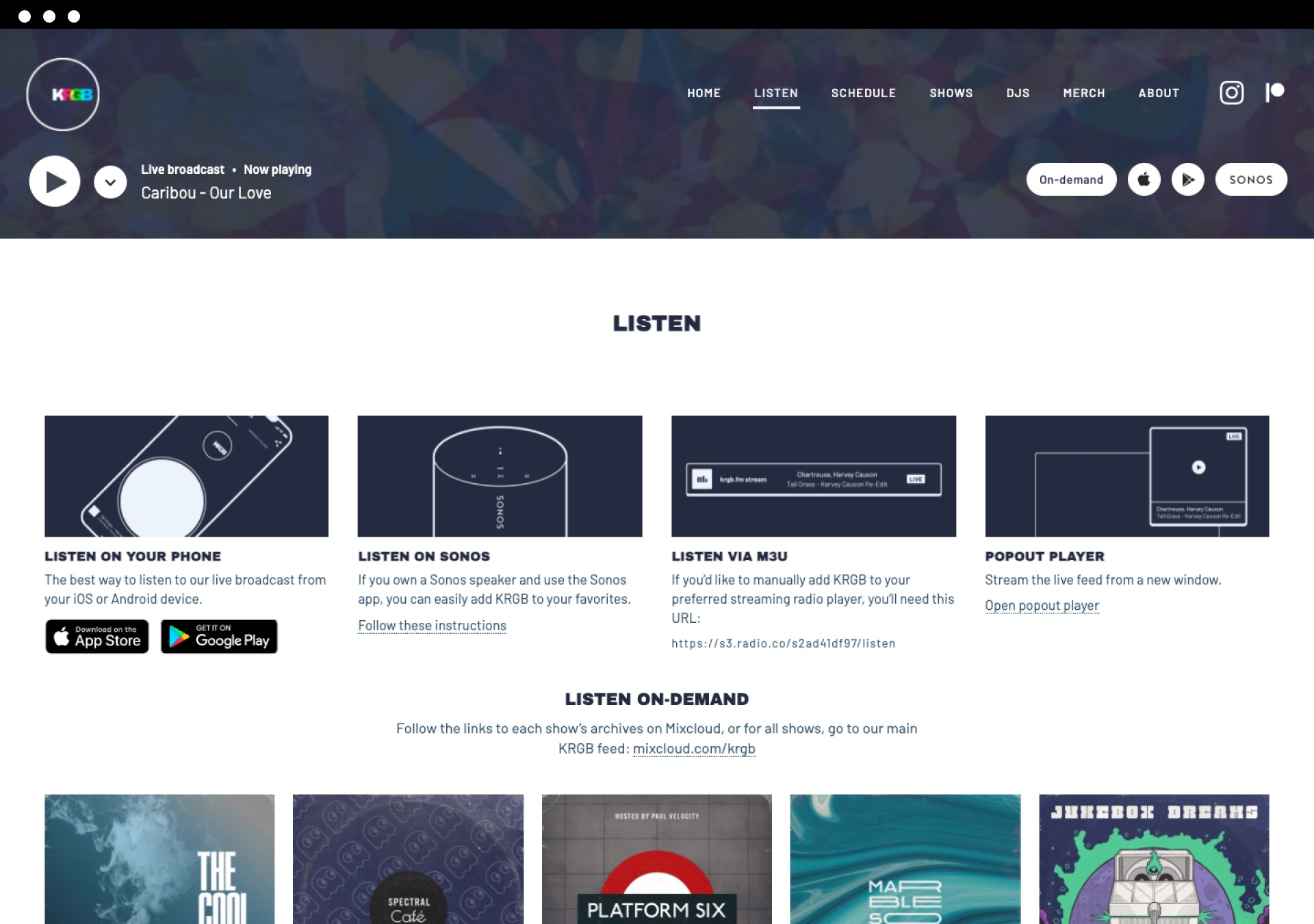 KRGB v3 listen page