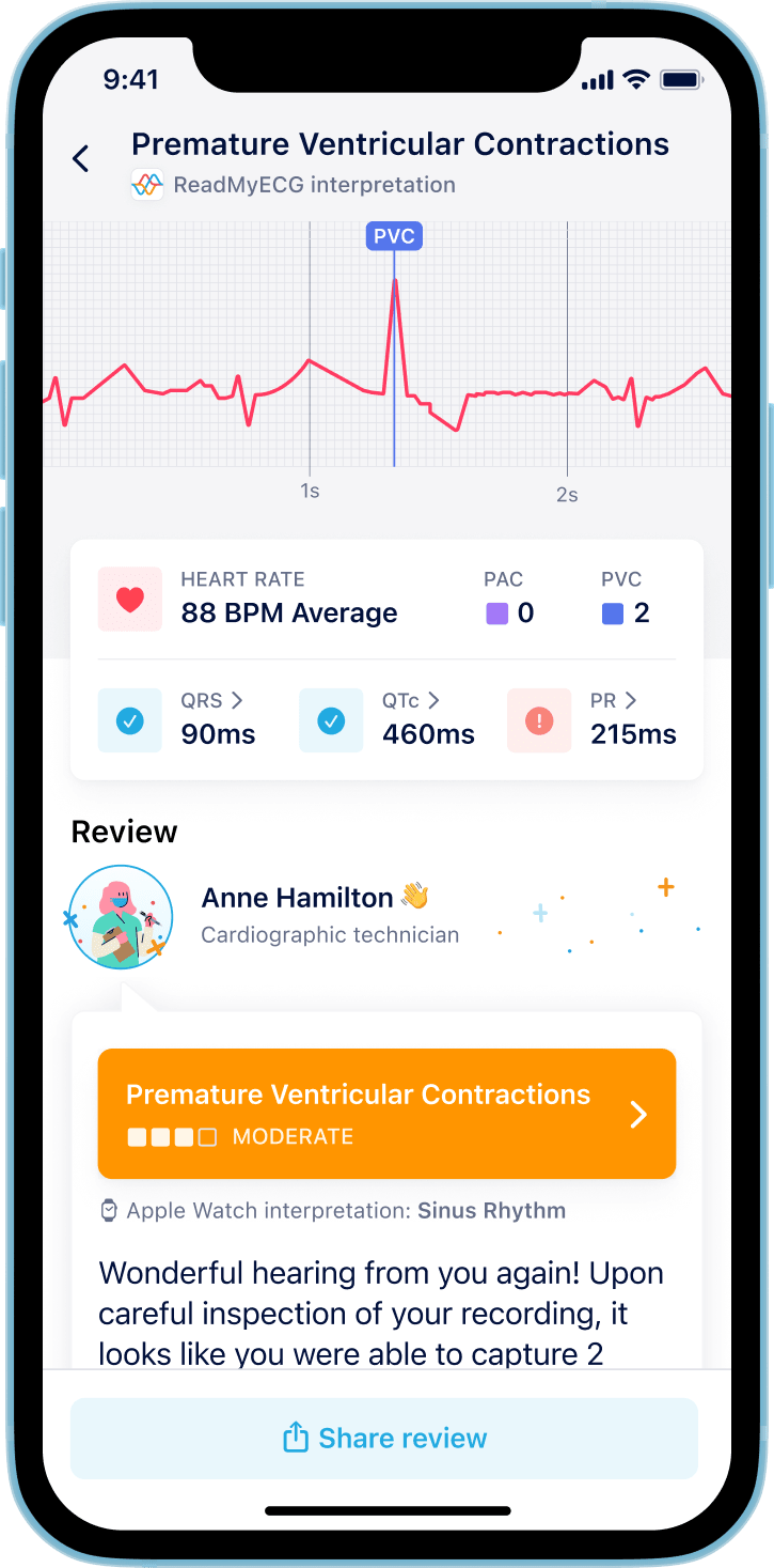 ReadMyECG - on-demand, expert reviews of your Apple Watch ECGs. Learn about your PQRST values, rhythm and much more