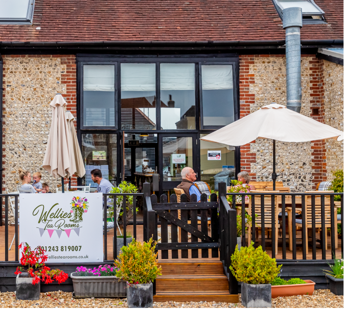 Wellies Tea Room Exterior. Based Outside of Chichester, West Sussex.