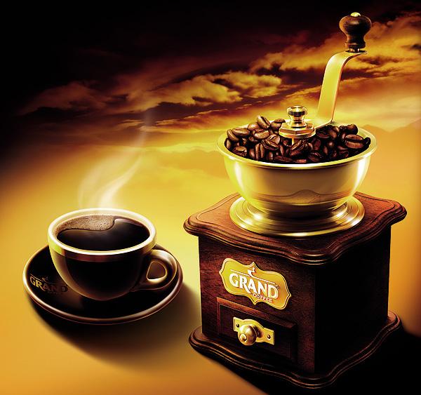 """Узнаваемый key visual бренда """"GRAND"""" — кофемолка — в новом дизайне стал еще более элегантным. Авторские иллюстрации в сочетании с насыщенной благородной цветовой гаммой упаковки придают образу """"GRAND"""" особый стиль и изысканность."""