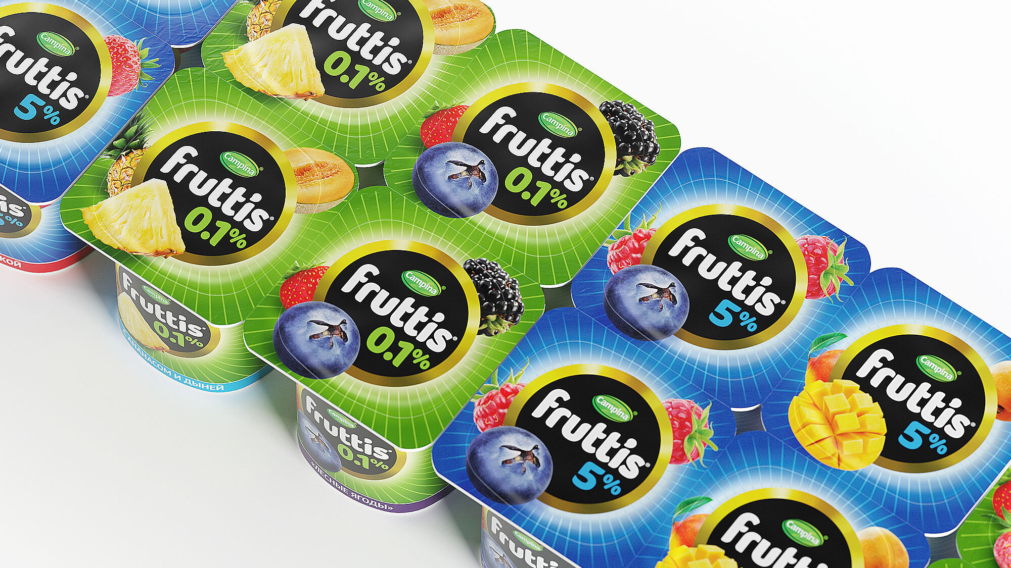 Обновление проводилось для моновкусов, йогуртов с разными фруктами и детской линейки, при этом в ходе редизайна мы усилили воспринимаемое единство бренда.
