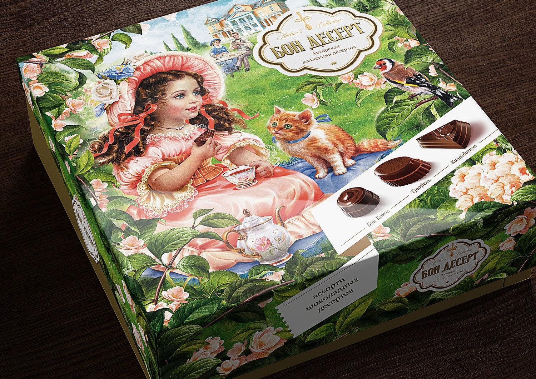 Агентство BQB, изучив рынок шоколадных десертов иособенности данной категории, предложило заказчику концепцию упаковки, построенную навысококачественной иллюстрации, выполненной в ретро-стилистике. Такой имидж идетальность прорисовки хорошо подчеркивают качество самого продукта, в основе которого ручная работа ииндивидуальный подход навсех этапах производства.