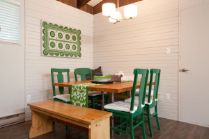 Delightful-Sewing-Machine-decorating-ideas-for-Magnificent-Dining-Room-Contemporary-design-ideas-with-bead-board-bench-seat-dining-table-green-green-dining-chairs-pendant-light