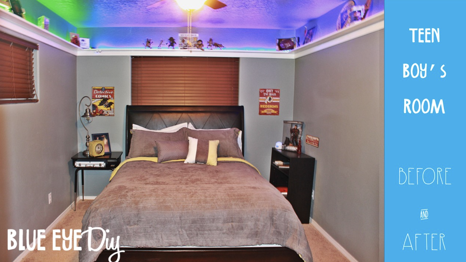 BEFORE AND AFTER- TEEN BOY'S ROOM WITH COOL LED SHELVES!!!