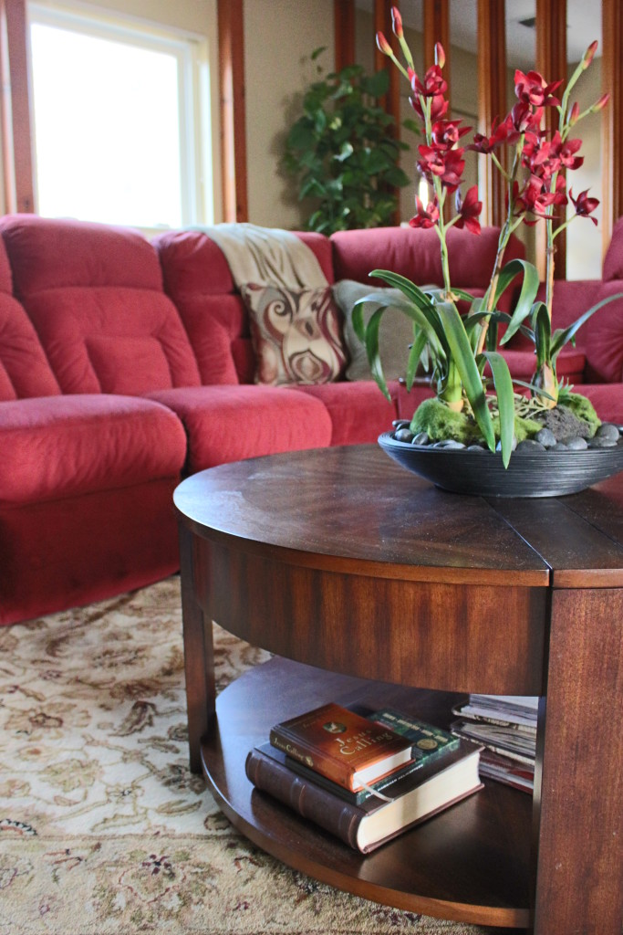 Comfort Done Classy, Red Sectional, Room Makeover, Traditional