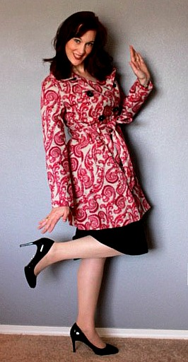 Pink Paisley Trench Coat