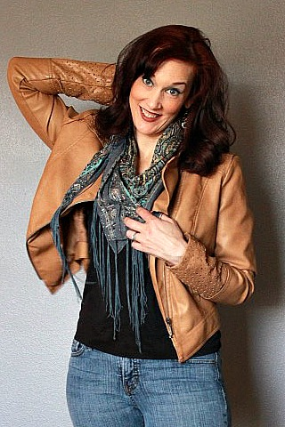 Leather Bomber Jacket and Scarf