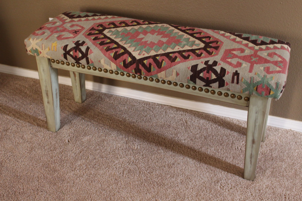 Bench upcycle from old rug