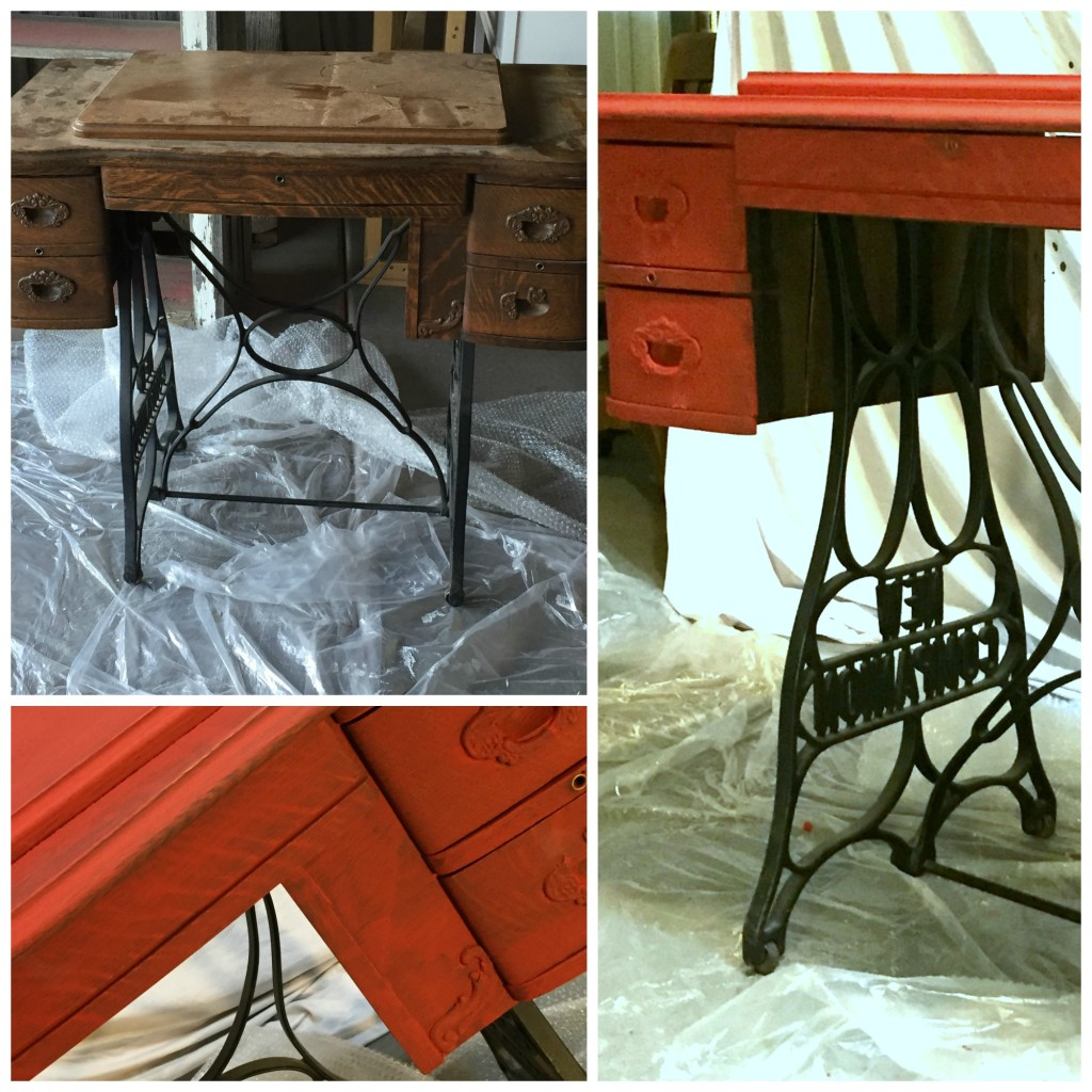 Red Sewing Desk Before Wax