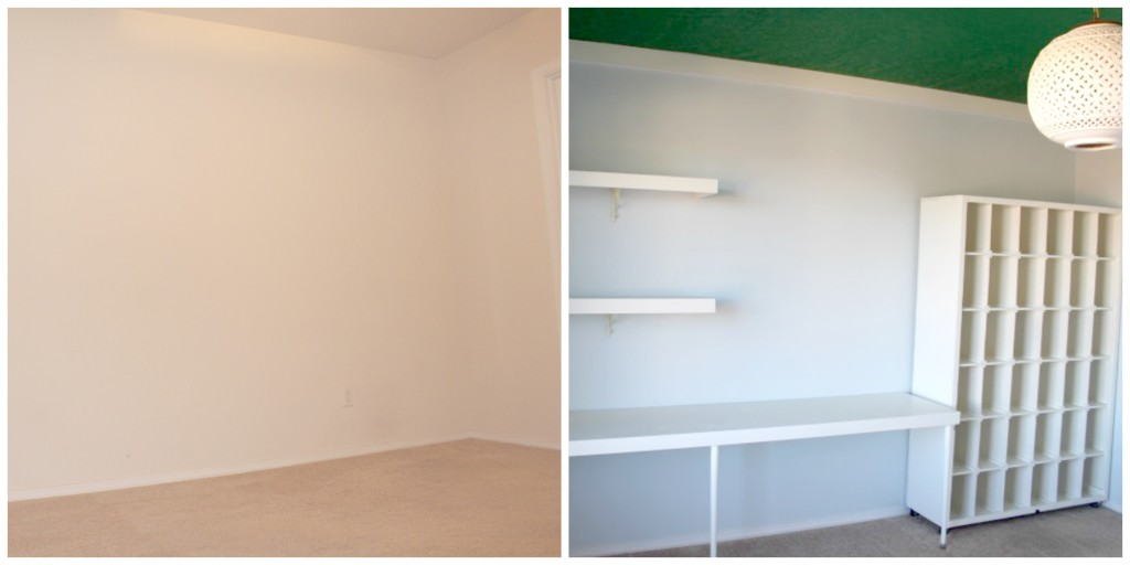 Before and After with Desk and Shelf