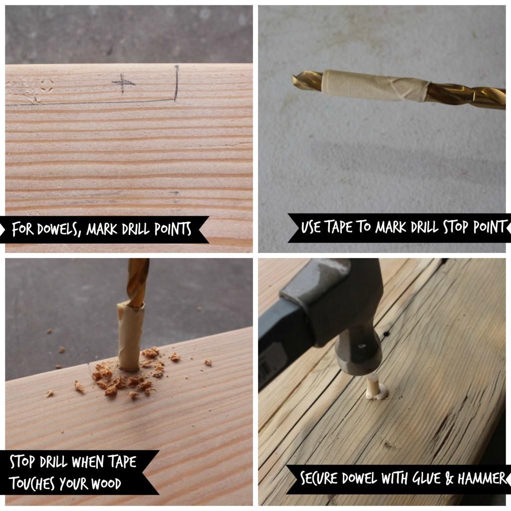 Rustic Sofa Table - Dowel application