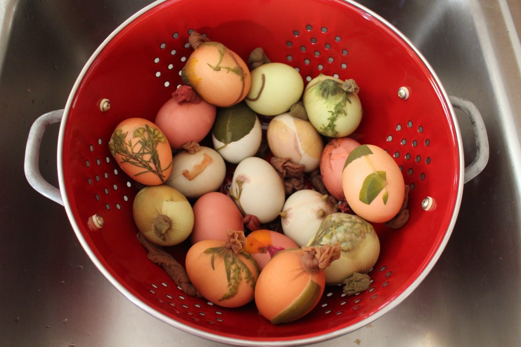 Natural Dye Eggs with Pantyhose