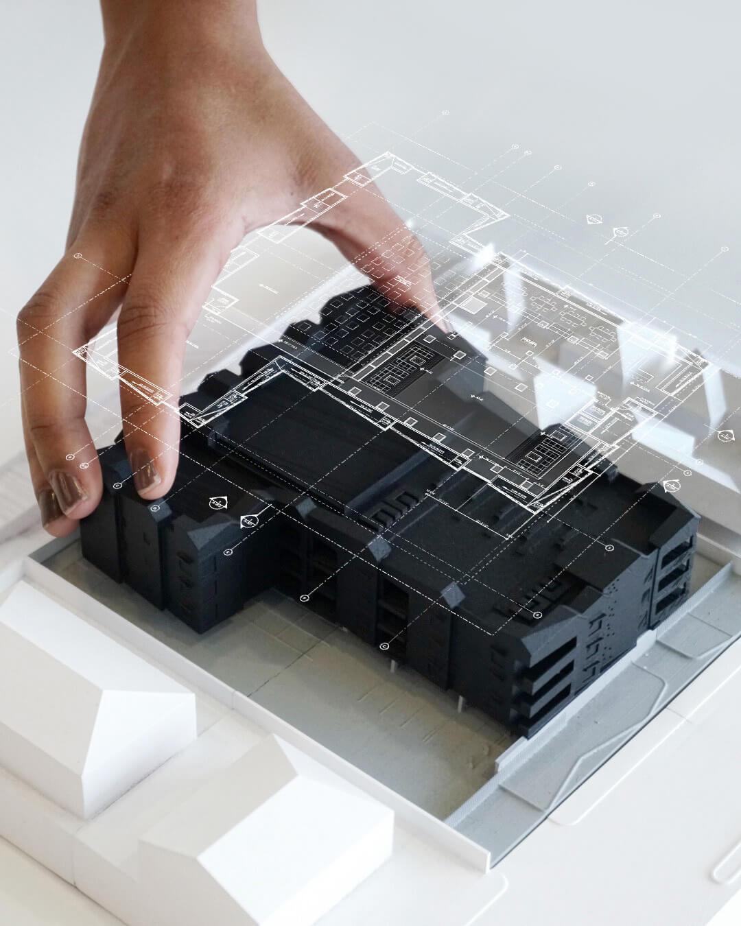 Model of building designed by architect Laney LA