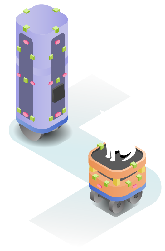 Two robots with many sensors are on a path. A cat is riding on top of the shorter platform robot.