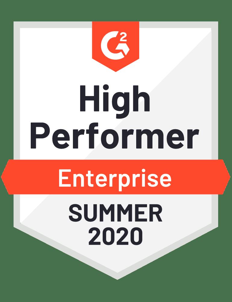 High Performer Enterprise Summer 2020 - G2 Badge to Cooleaf, best employee engagement Saas